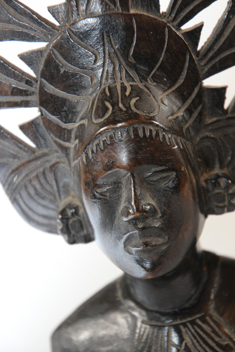 Hand Carved Wooden Balinese Busts Sculptures For Sale 8