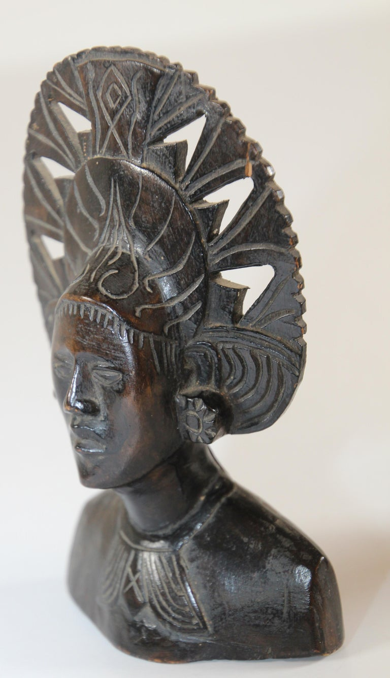 Hand Carved Wooden Balinese Busts Sculptures For Sale 9