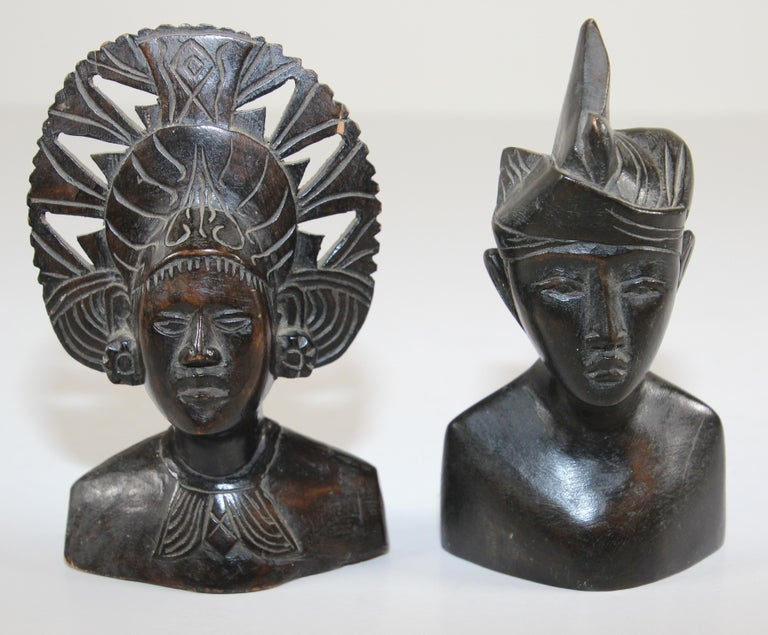 Tribal Hand Carved Wooden Balinese Busts Sculptures For Sale