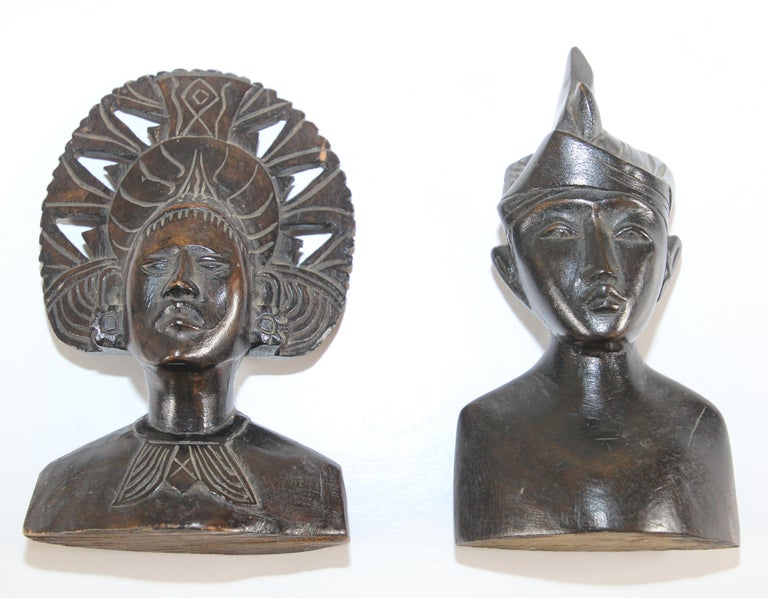 Hand-Carved Hand Carved Wooden Balinese Busts Sculptures For Sale