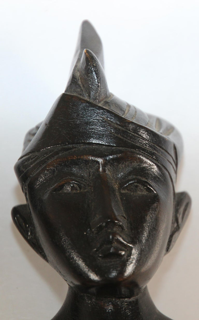 20th Century Hand Carved Wooden Balinese Busts Sculptures For Sale