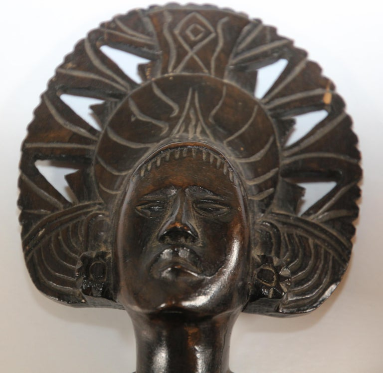 Hand Carved Wooden Balinese Busts Sculptures For Sale 1