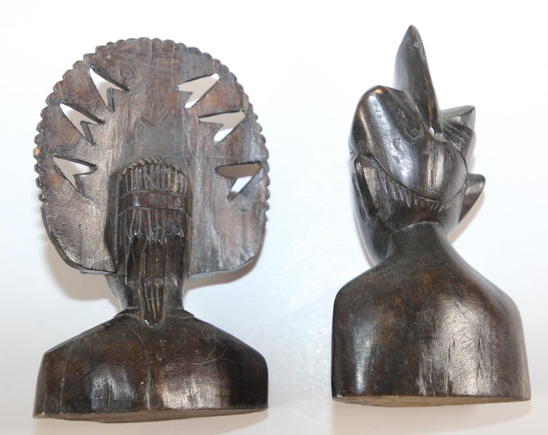 Hand Carved Wooden Balinese Busts Sculptures For Sale 2