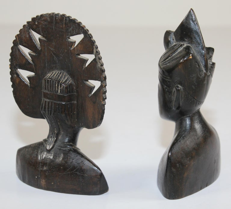 Hand Carved Wooden Balinese Busts Sculptures For Sale 3