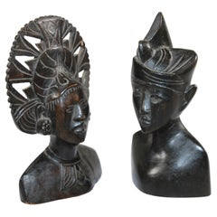 Hand Carved Wooden Balinese Busts Sculptures