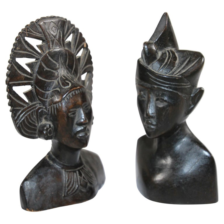 Hand Carved Wooden Balinese Busts Sculptures For Sale