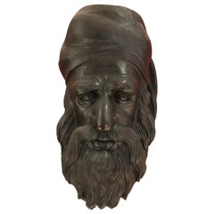 Hand Carved Wooden Bust of Bearded Man