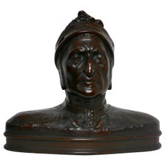 Hand Carved Wooden Bust of Dantes, Early 20th Century