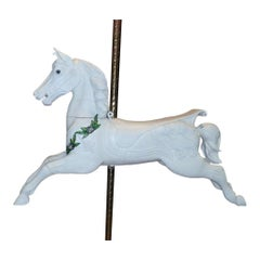 Hand Carved White Painted Wooden Carousel Horse
