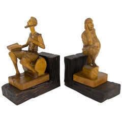 Hand Carved Wooden Don Quixote and Sancho Panza Sculpture Bookends