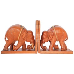 Hand Carved Wooden Elephant Bookends, circa 1950