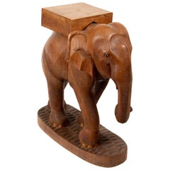 Hand Carved Wooden Elephant Side Table