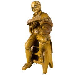 Hand Carved Wooden Figurative Sculpture of a Professor with Books