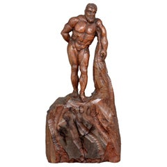 Hand Carved Wooden Figure of Hercules, circa 1900