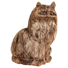 Hand Carved Wooden Folk Art Persian Cat with Natural Weathered Patina