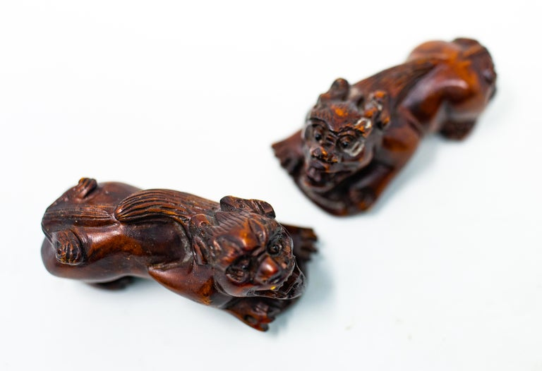 Hand Carved Wooden Foo Dogs For Sale 1