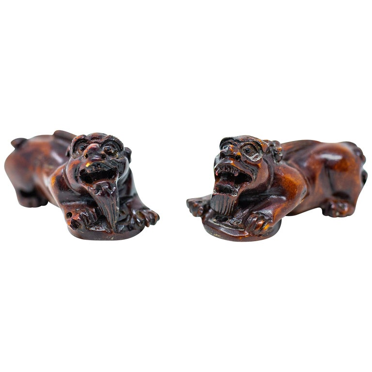 Hand Carved Wooden Foo Dogs For Sale