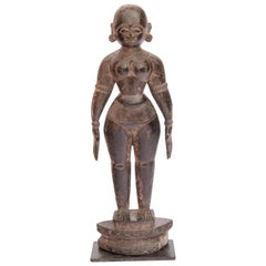 Hand Carved Wooden Marapachi Doll from Tamil Nadu, Mid-20th Century, Metal Stand