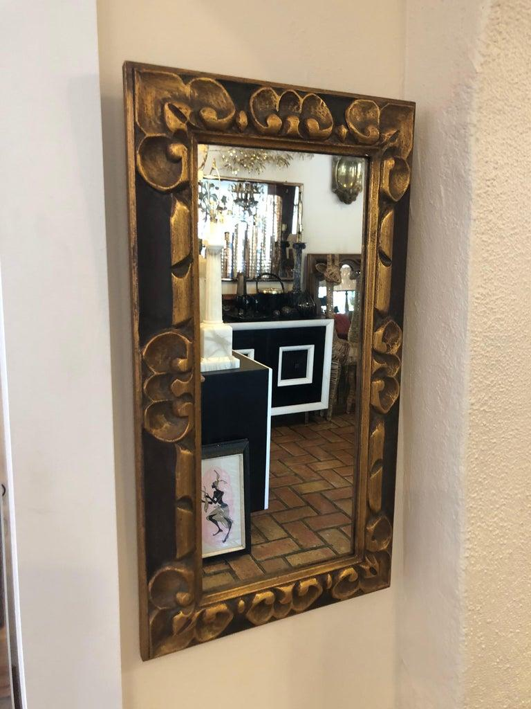 Hand Carved Gilt Wooden Mirror In Good Condition For Sale In Redding, CT