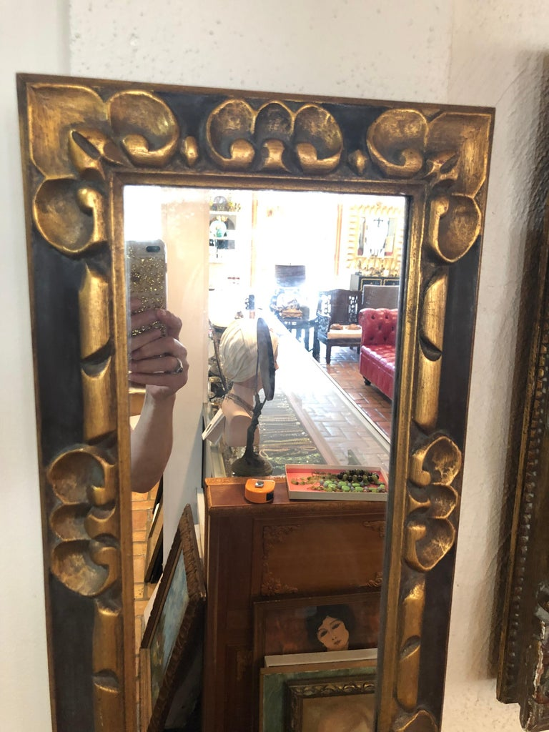Late 20th Century Hand Carved Gilt Wooden Mirror For Sale