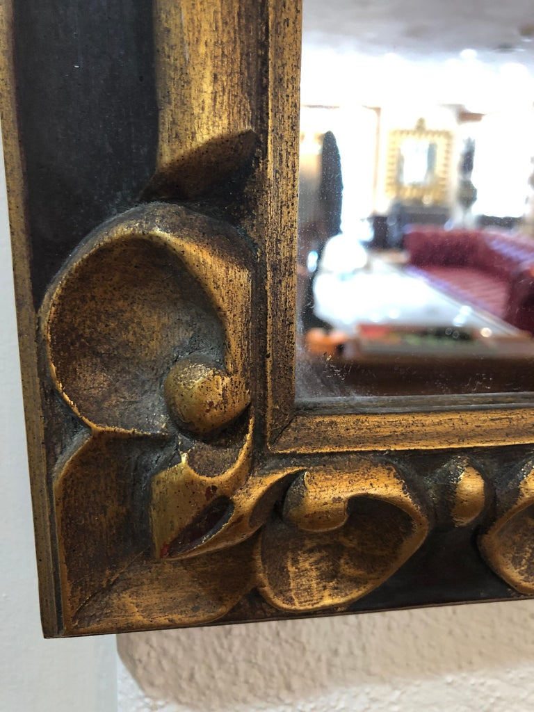 Hand Carved Gilt Wooden Mirror For Sale 1