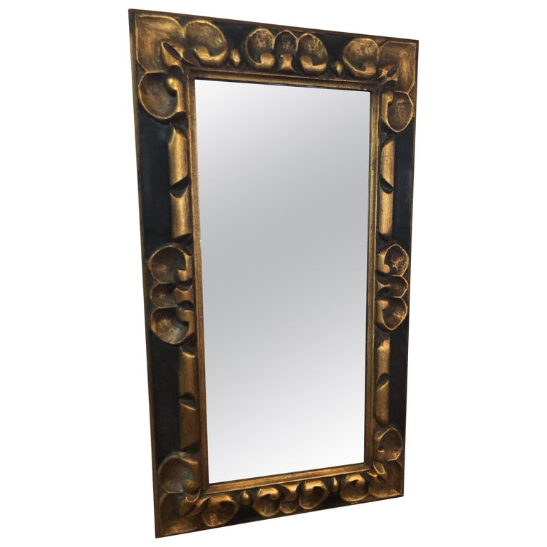 Hand Carved Gilt Wooden Mirror For Sale