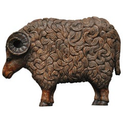 Hand Carved Wooden Ram Wall Decor