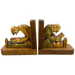 Hand Carved Wooden Sculpture Bookends Two Reading Men