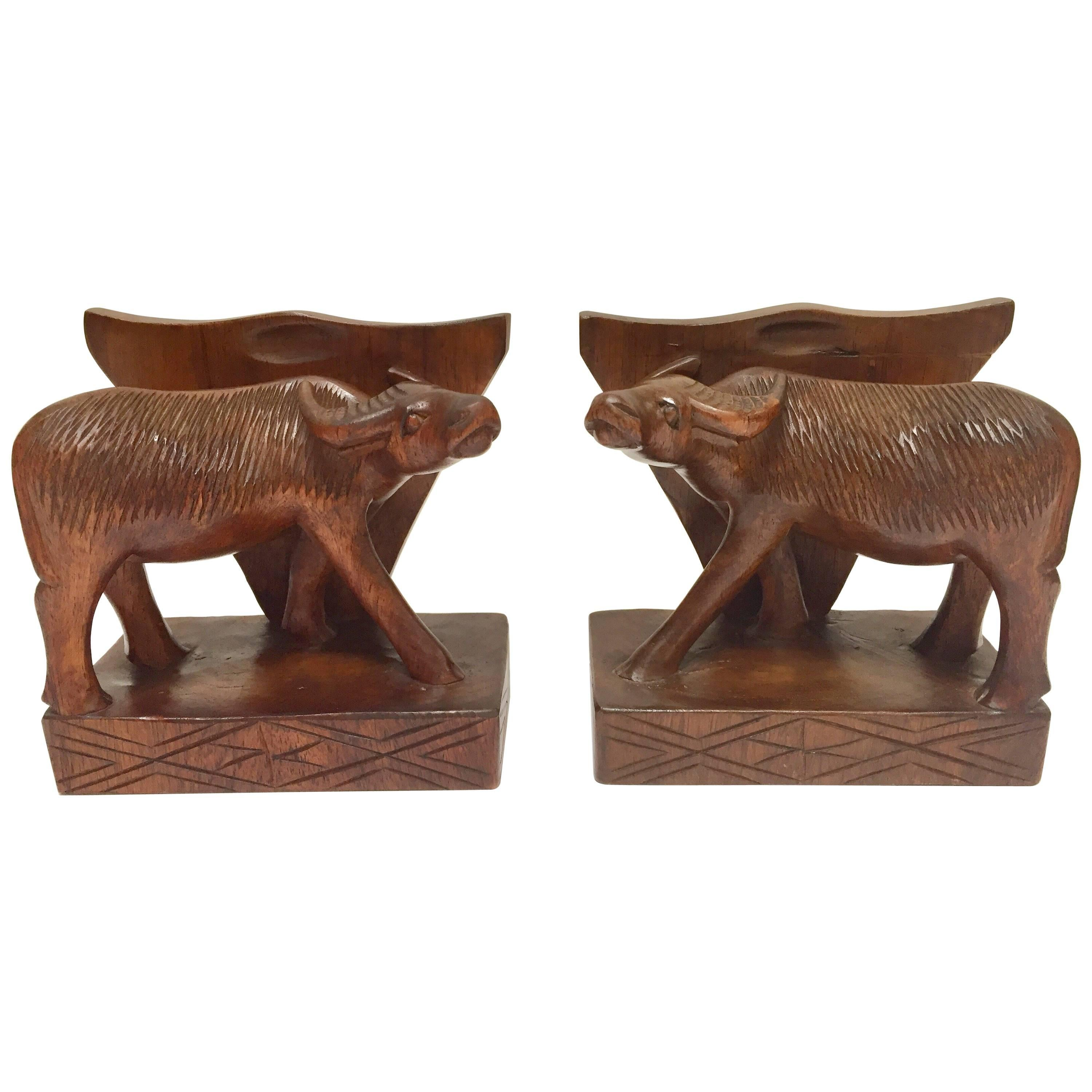 Hand-Carved Wooden Sculpture of African Buffalo Bookends