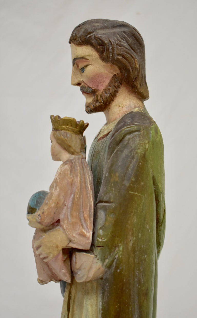 Hand Carved Wooden Sculpture of Saint Joseph with Baby Jesus For Sale 4