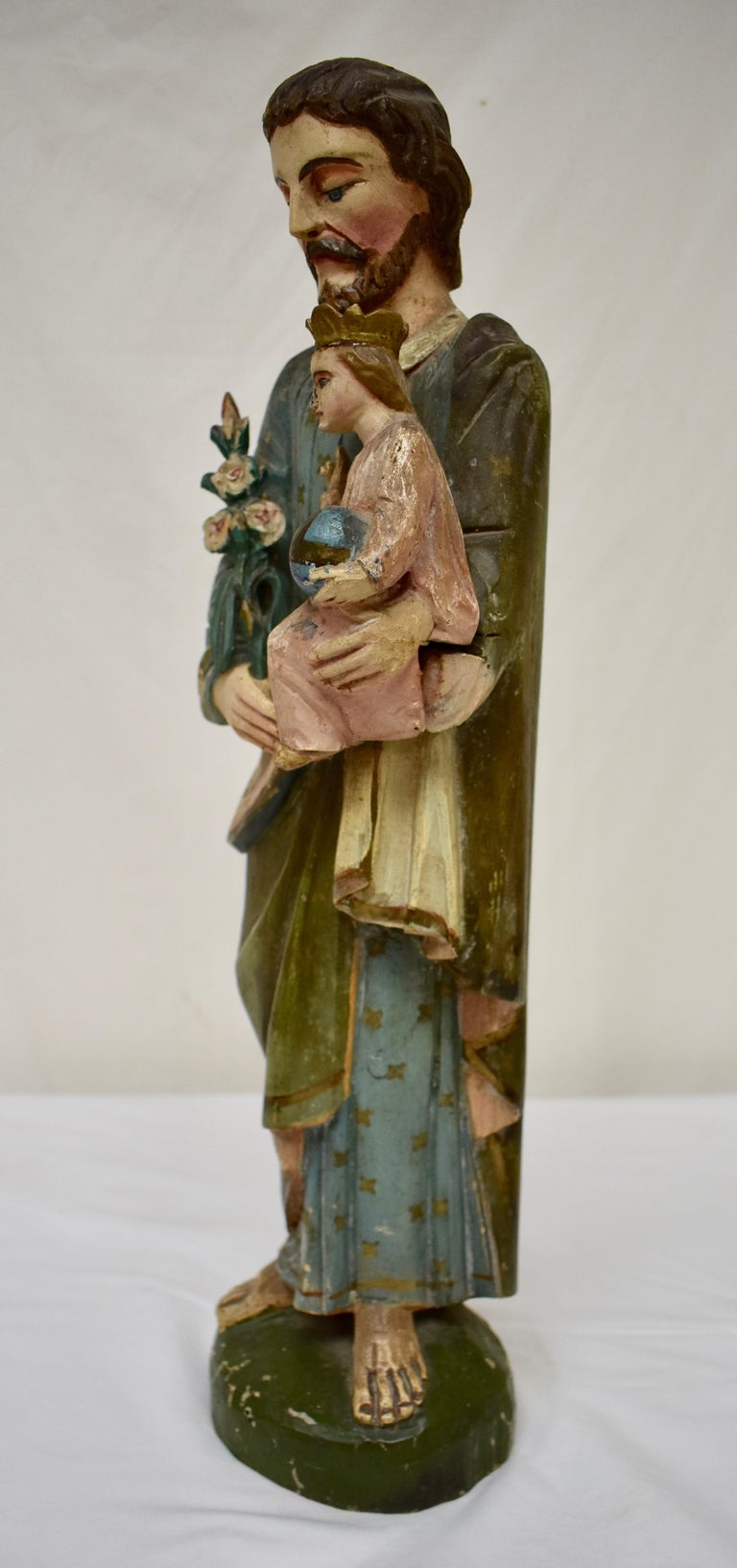 Hand Carved Wooden Sculpture of Saint Joseph with Baby Jesus For Sale 9
