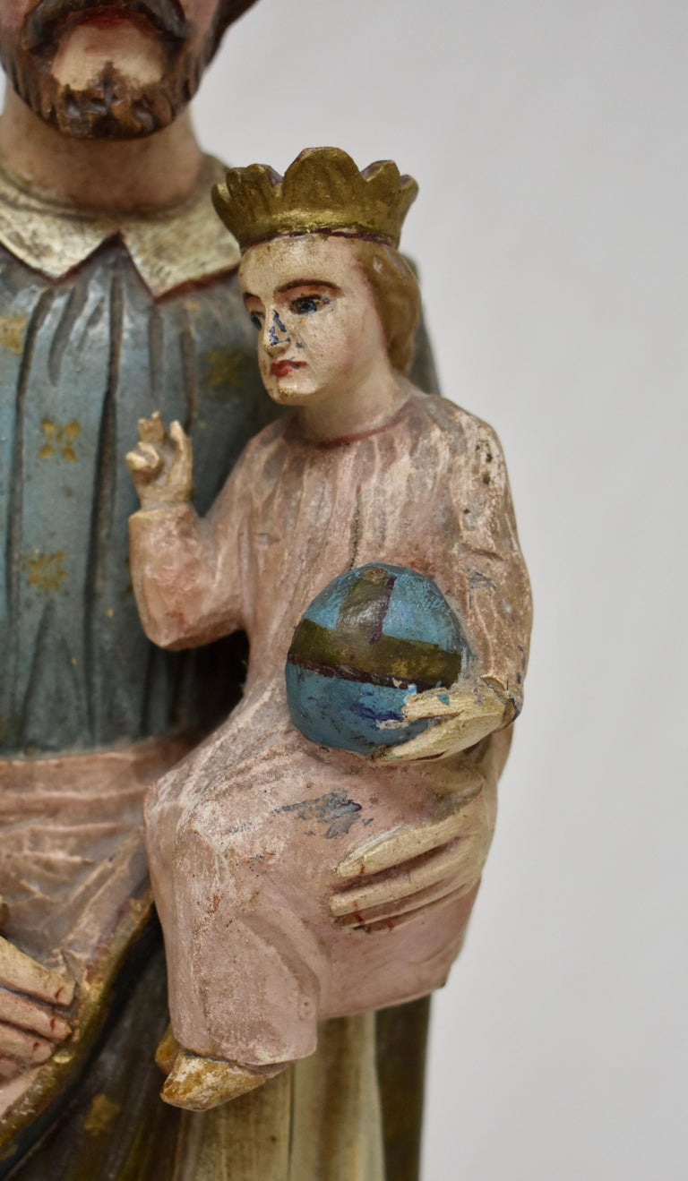 Folk Art Hand Carved Wooden Sculpture of Saint Joseph with Baby Jesus For Sale