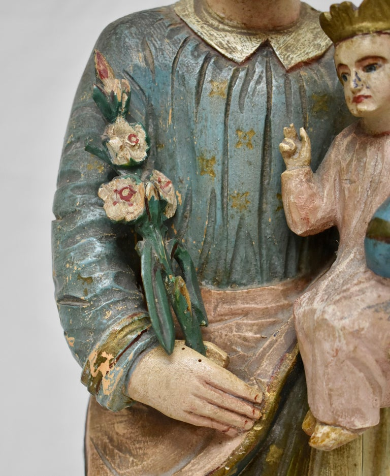 Hungarian Hand Carved Wooden Sculpture of Saint Joseph with Baby Jesus For Sale