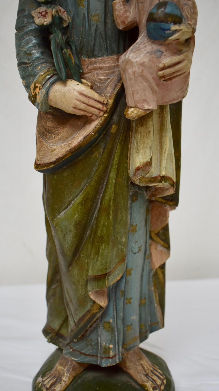 Hand-Carved Hand Carved Wooden Sculpture of Saint Joseph with Baby Jesus For Sale