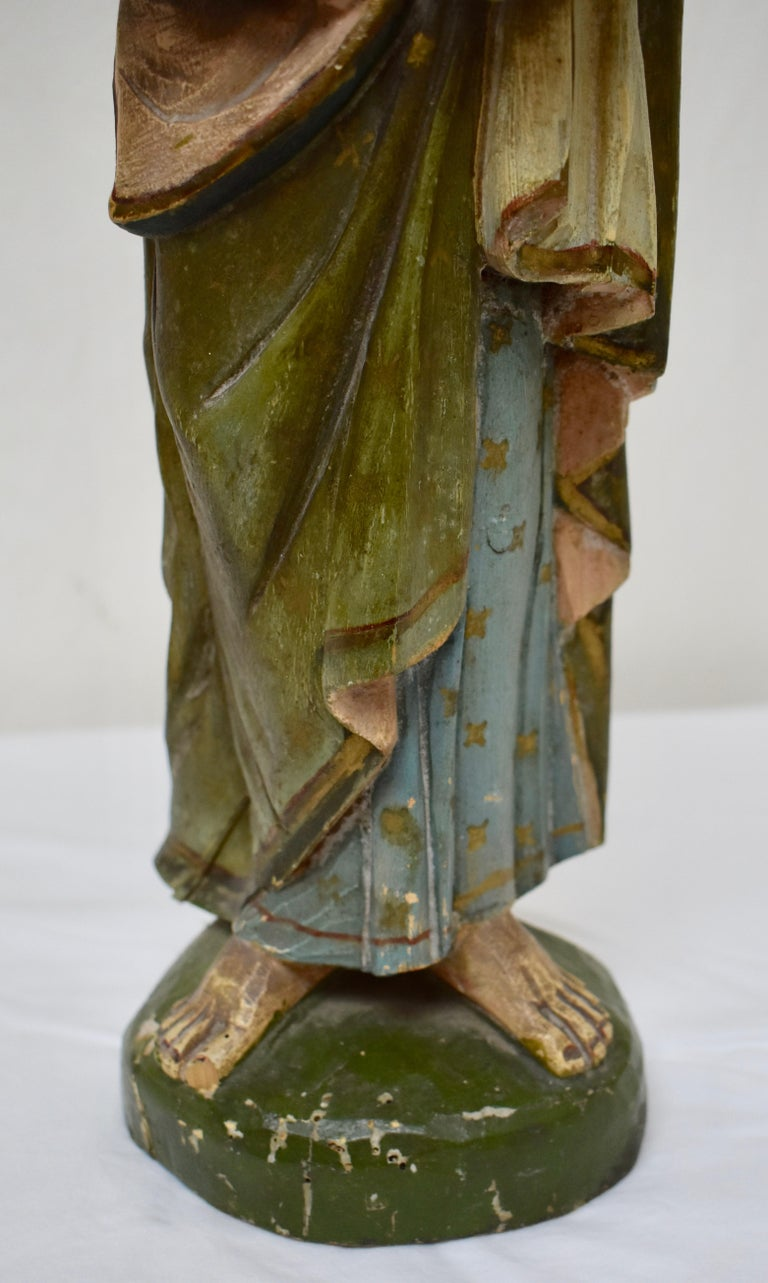 Hand Carved Wooden Sculpture of Saint Joseph with Baby Jesus In Good Condition For Sale In Kensington, MD