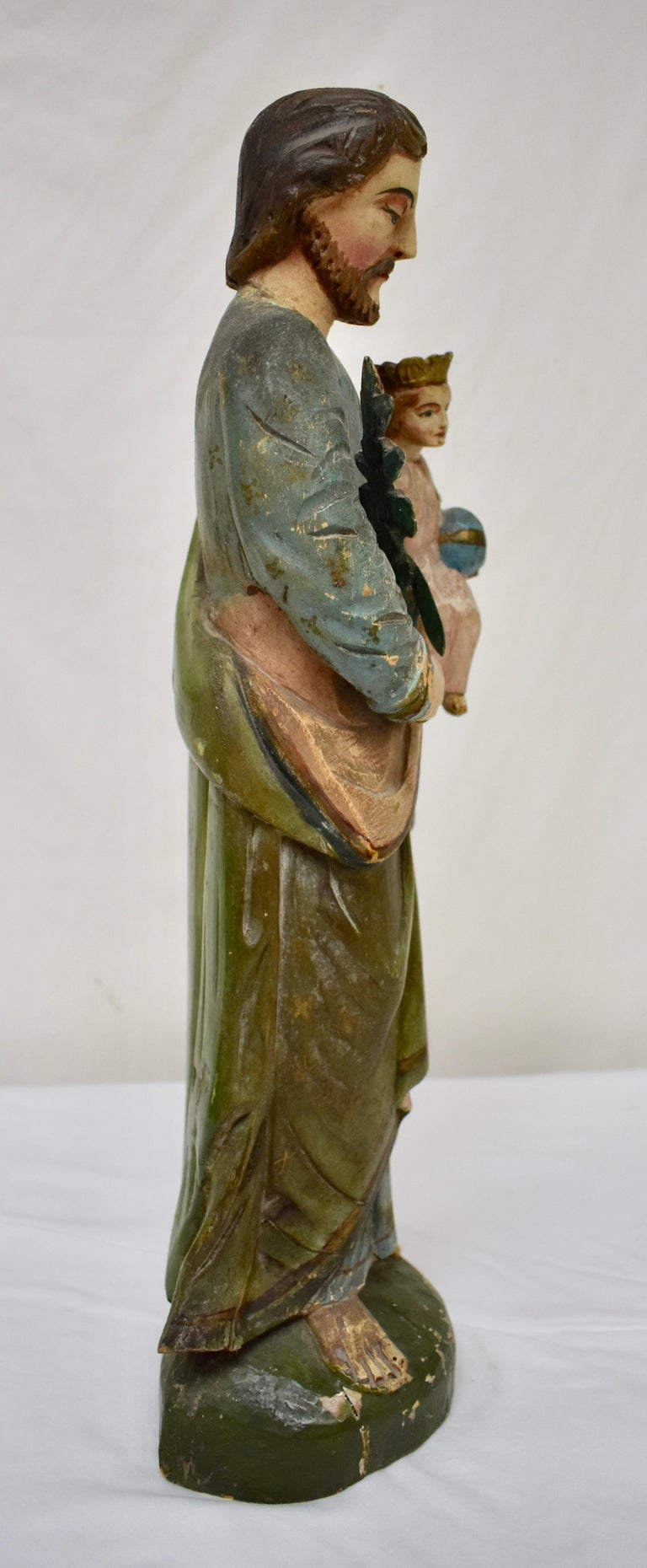 19th Century Hand Carved Wooden Sculpture of Saint Joseph with Baby Jesus For Sale
