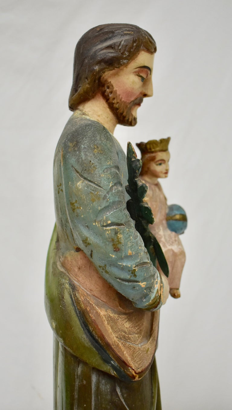 Fruitwood Hand Carved Wooden Sculpture of Saint Joseph with Baby Jesus For Sale