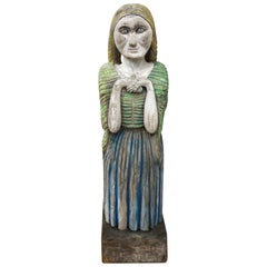 Hand Carved Wooden Statue from 1967, Original Painting, Unique Piece Italian