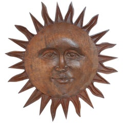 Hand Carved Wooden Sun Wall Hanging