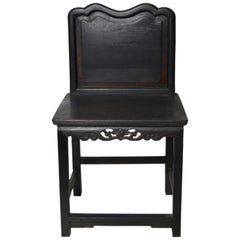 Hand-Carved Yumu Wood Chinese 19th Century Side Chair with Foliage and Scrolls