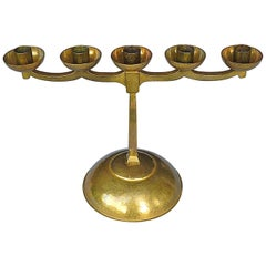 Hand-Chased Brass Bauhaus Art Deco Candle Holder Signed Bohde 1920s Candelabras
