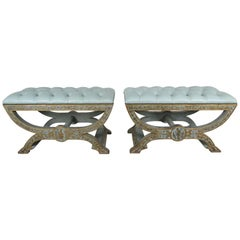 Hand Chinoiserie Painted Benches with Soft Blue Leather Upholstery, Pair