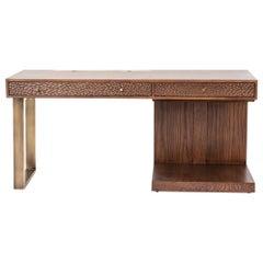 Hand Chiseled Tinted Oak Desk by Egg Designs