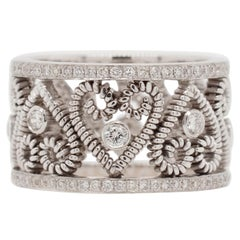 Hand-Coiled Etruscan Style Band with Bezel-Set Diamonds