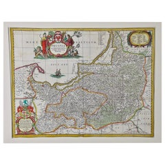 Hand Colored 17th Century Janssonius Map of Prussia Poland, N. Germany, Etc