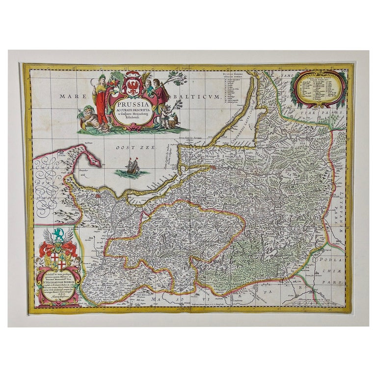 Hand Colored 17th Century Janssonius Map of Prussia Poland, N. Germany, Etc For Sale