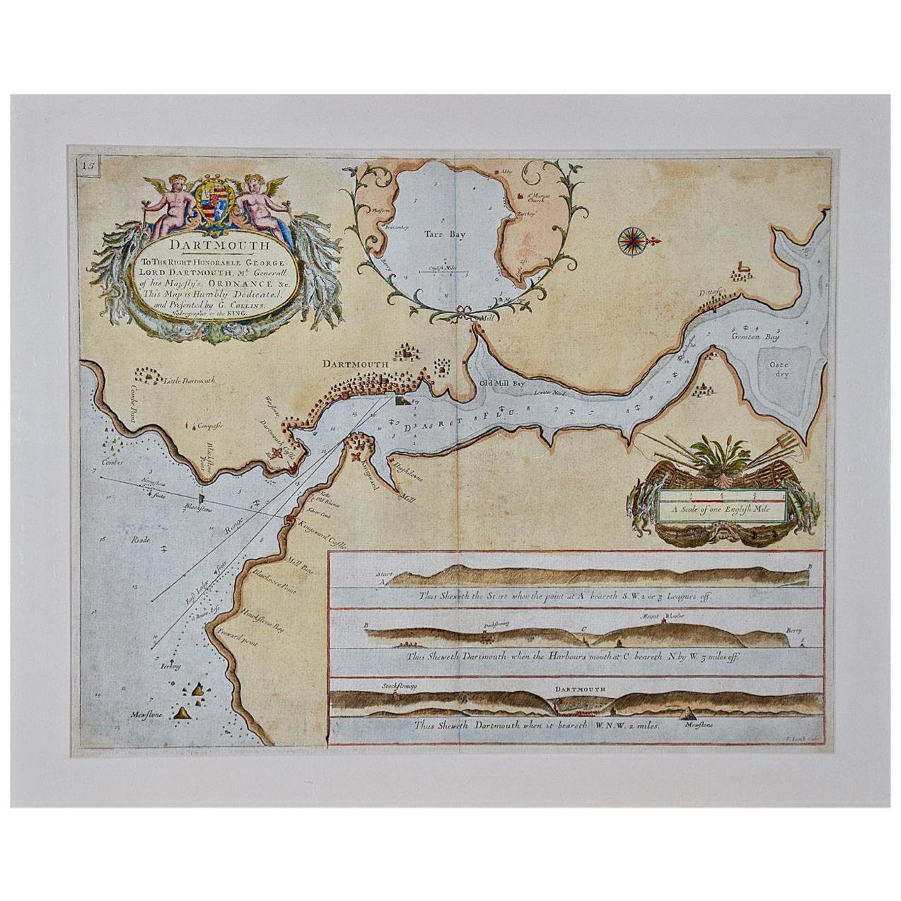 Hand-Colored 17th Century Sea Chart of Dartmouth, England by Captain Collins