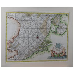 Hand-Colored 17th Century Sea Chart of Flanders, Holland, Frisia, and Norfolk
