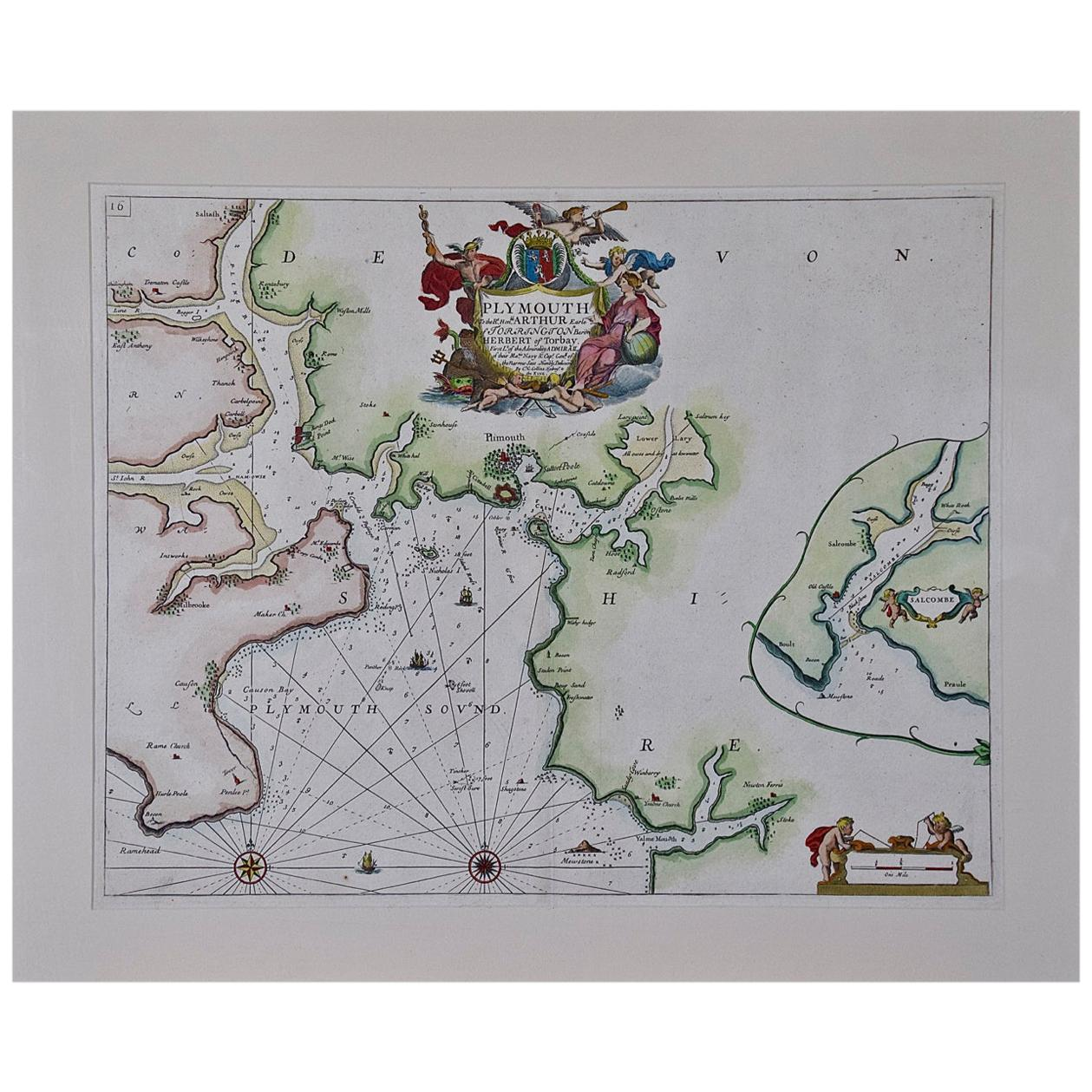 Hand-Colored 17th Century Sea Chart of Plymouth, England by Captain Collins