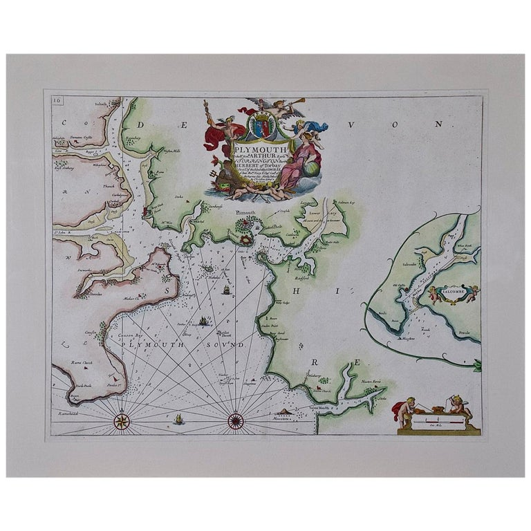 Hand-Colored 17th Century Sea Chart of Plymouth, England by Captain Collins For Sale